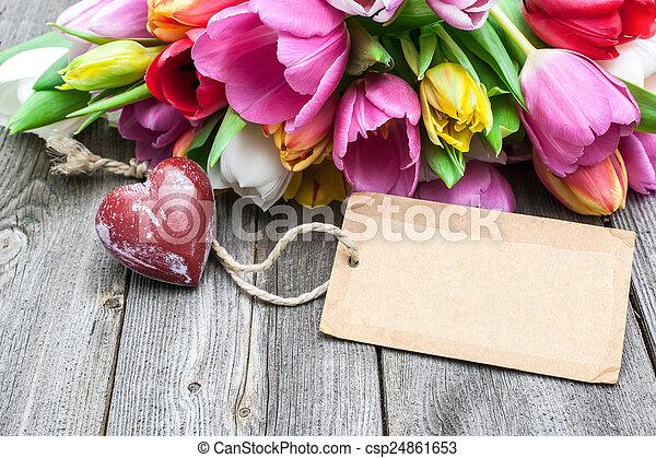 coração, buquet, tulips, tag, vermelho, vazio - csp24861653