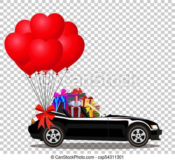 coração, cabriolé, car, presentes, pretas, balões, vermelho, grupo - csp54311301