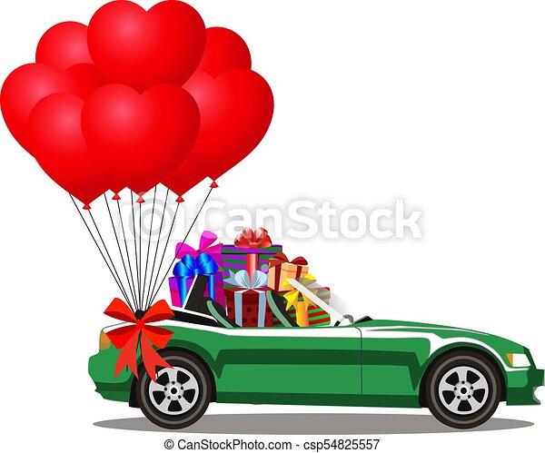coração, cheio, cabriolé, presente, car, caixas, balões, vermelho, grupo - csp54825557