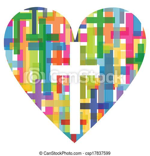 coração, conceito, cartaz, abstratos, crucifixos, ilustração, cristianismo, religião, vetorial, fundo, mosaico - csp17837599