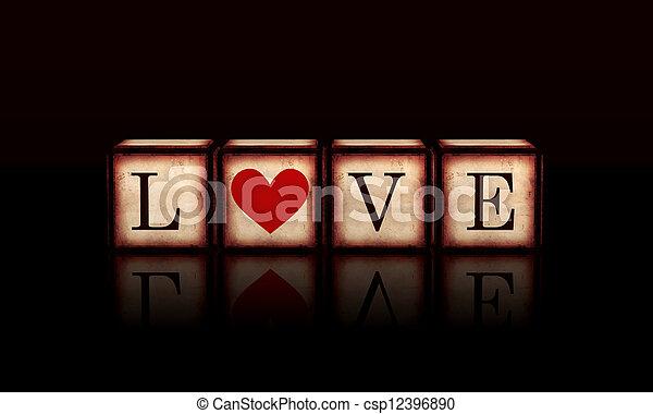 coração, cubos, amor, madeira, vermelho, 3d - csp12396890