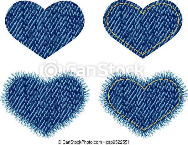 coração, denim, patch. - csp9522551