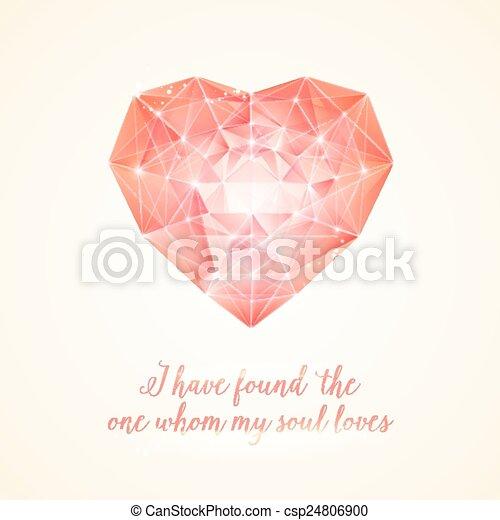 coração, diamante, seu, design. - csp24806900