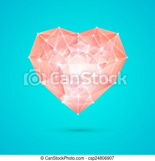coração, diamante, seu, design. - csp24806907