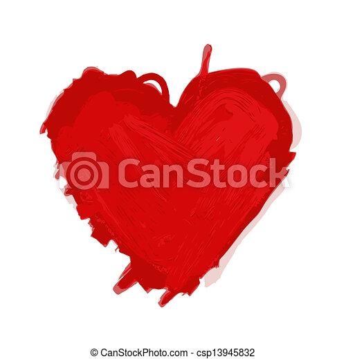 coração, esboço, desenho, seu, vermelho - csp13945832