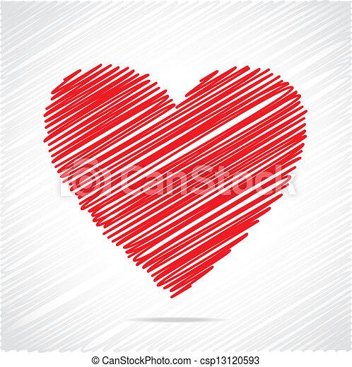 coração, esboço, desenho, vermelho - csp13120593