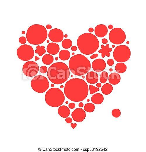 coração, esboço, forma abstrata, desenho, seu, vermelho - csp58192542