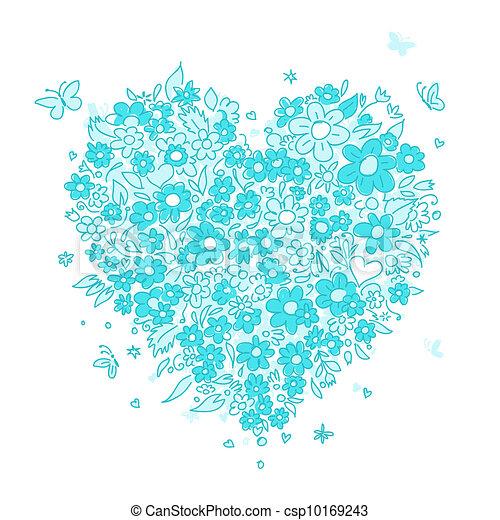 coração, esboço, forma, desenho, floral, seu - csp10169243