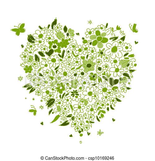coração, esboço, forma, desenho, floral, seu - csp10169246