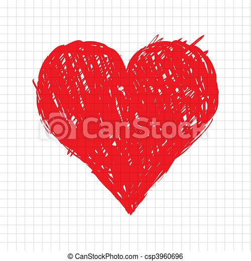 coração, esboço, forma, desenho, seu, vermelho - csp3960696