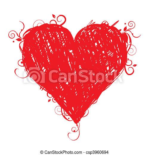 coração, esboço, forma, desenho, seu, vermelho - csp3960694