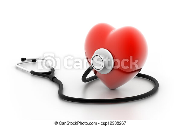coração, estetoscópio - csp12308267
