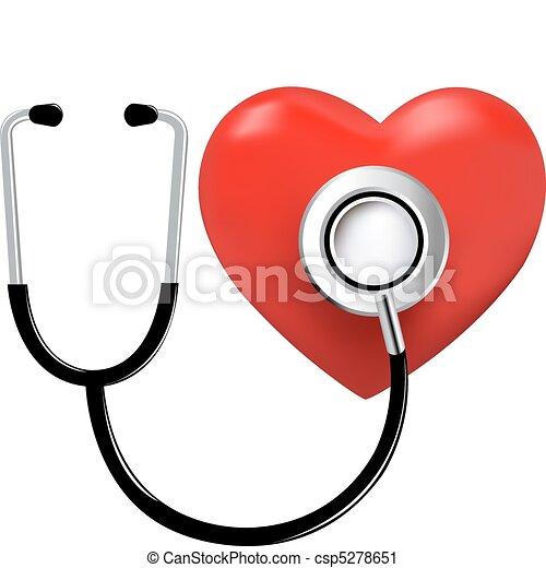 coração, estetoscópio - csp5278651