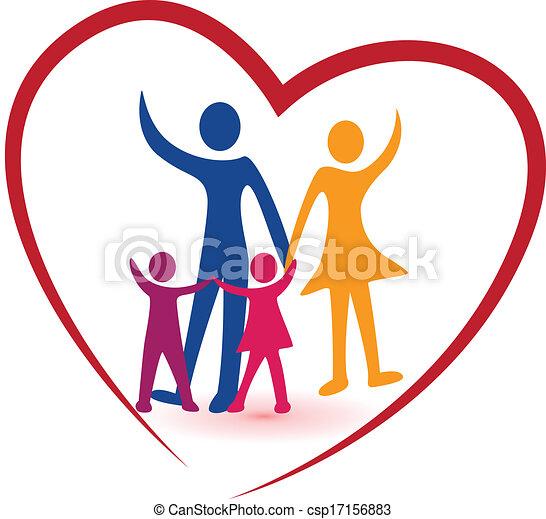 coração, família, vermelho, logotipo - csp17156883