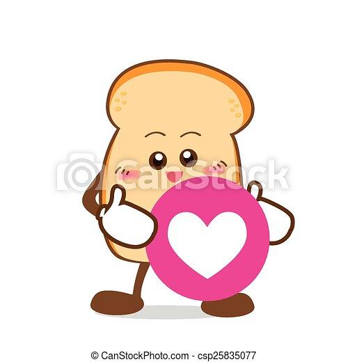 coração, fatia, amor, isolado, mão, sorrizo, pão, caricatura, feliz - csp25835077