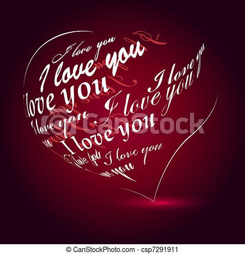 """coração, feito, amor, """"i, you"""", pretas, frase - csp7291911"""