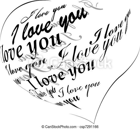 """coração, feito, amor, """"i, you"""", pretas, frase - csp7291166"""