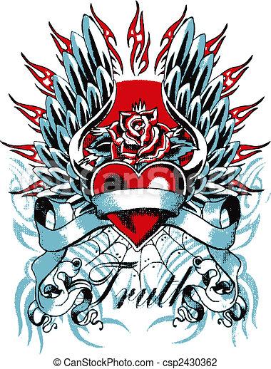 coração, gótico, asa - csp2430362