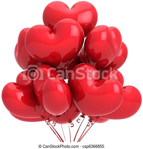 coração, hélio, balões, vermelho, dado forma - csp6366855