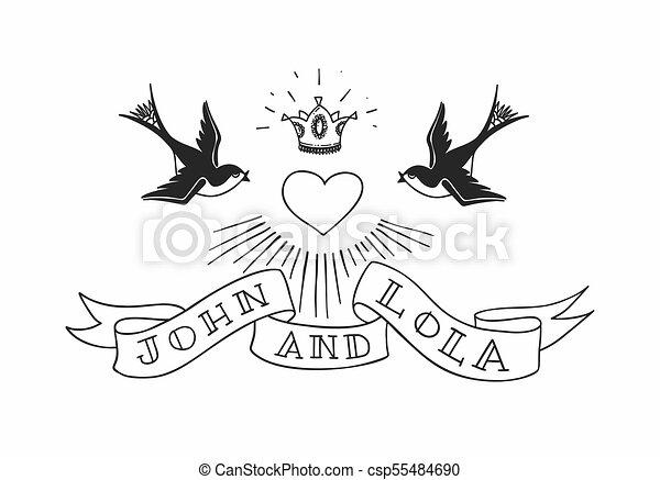 Coração Illustration Tatuagem Vindima Coroa Dois Pássaros Americano Vetorial Rebelde Casório Andorinha Style Design