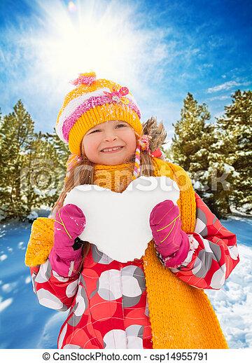 coração, luminoso, menina, neve - csp14955791