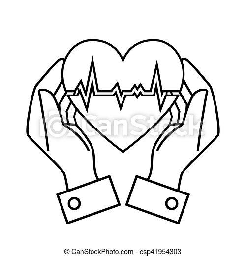coração, mão, taxa, desenho, ter, desenho - csp41954303