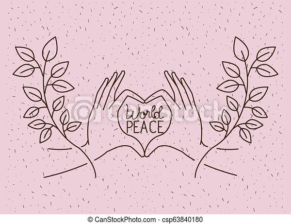 coração, mãos, paz, mundo - csp63840180