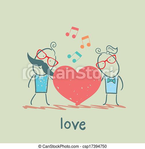 coração, melodia, sujeito, menina, escutar - csp17394750