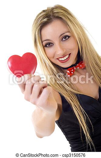 coração, mulher, dia, segurando, valentines - csp3150576