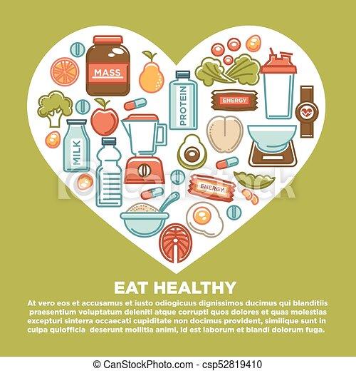 coração, nutrição, saudável, cartaz, comida dieta, suplemento, icons., condicão física, desporto, dietético - csp52819410