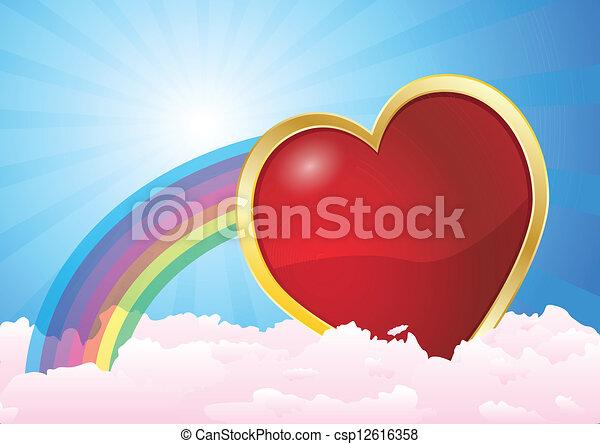 coração, nuvens, arco íris - csp12616358