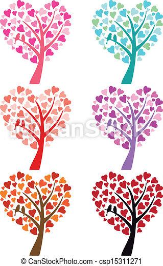 coração, pássaros, vetorial, árvore - csp15311271