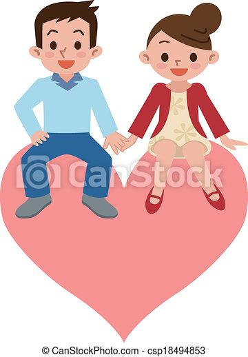coração, par, feliz - csp18494853