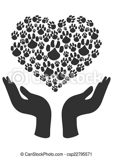 coração, símbolo, segure mãos, pata - csp22795571