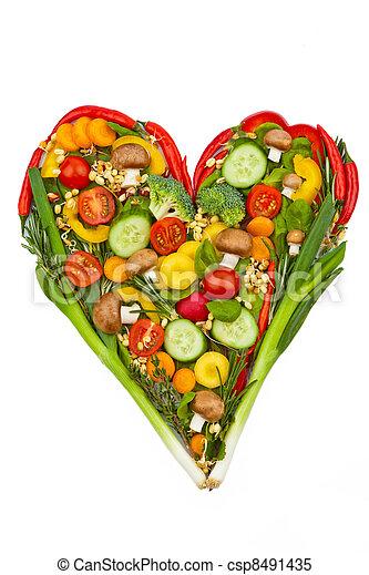 coração saudável, feito, comer, vegetables. - csp8491435