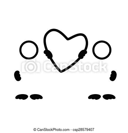 coração, silueta, ilustração, vetorial, pretas, arte - csp28579407