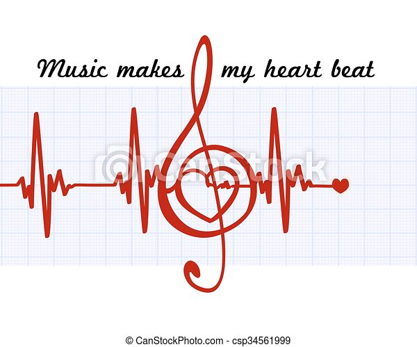 coração, sinal, abstratos, musical, clef, meu, arte, batida, quote., cardiogram., música, vetorial, faz - csp34561999