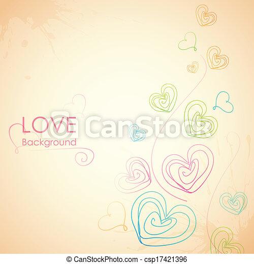 coração, sketchy, amor, fundo - csp17421396