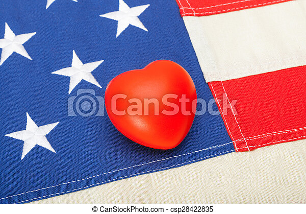 coração, tiro, eua, sobre, -, aquilo, cima, bandeira, estúdio, fim - csp28422835