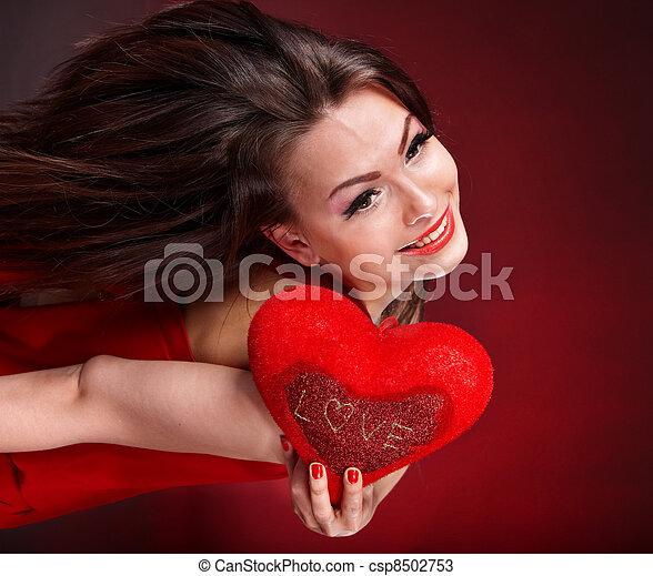 coração, valentines, flying., day., menina, vermelho - csp8502753