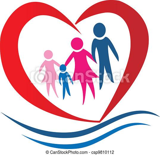 coração, vetorial, família, logotipo - csp9810112