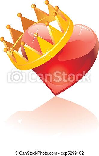 coração, vidro, coroado - csp5299102