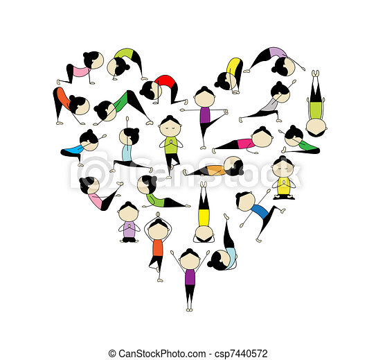 coração, yoga!, forma, desenho, amor, seu - csp7440572