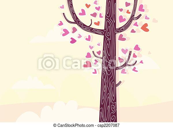 corações, árvore - csp2207087