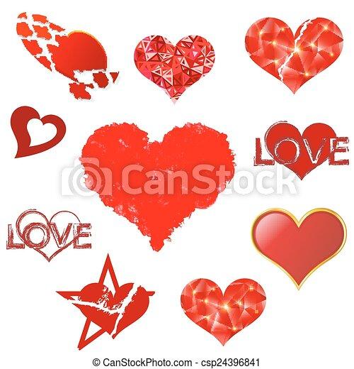 corações, branca, jogo, experiência. - csp24396841