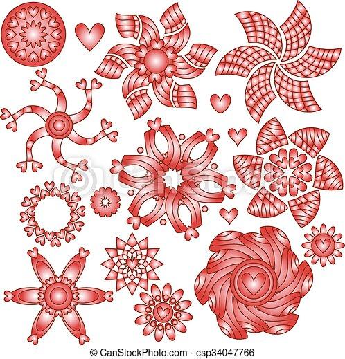 corações, branco vermelho, ornamentos - csp34047766