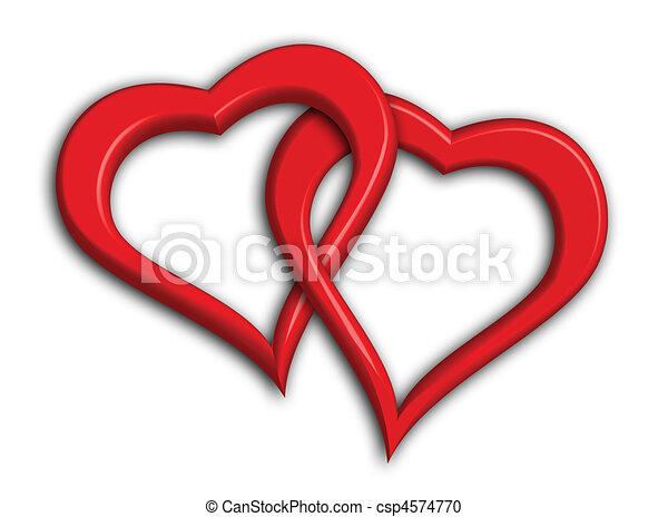 corações, entrelaçado, dois - csp4574770
