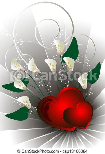 corações, flores brancas, calla, vermelho - csp13106364