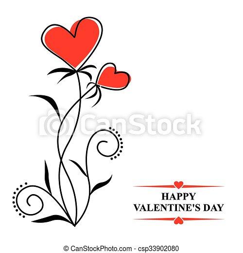 corações, flores, contorno, valentines - csp33902080