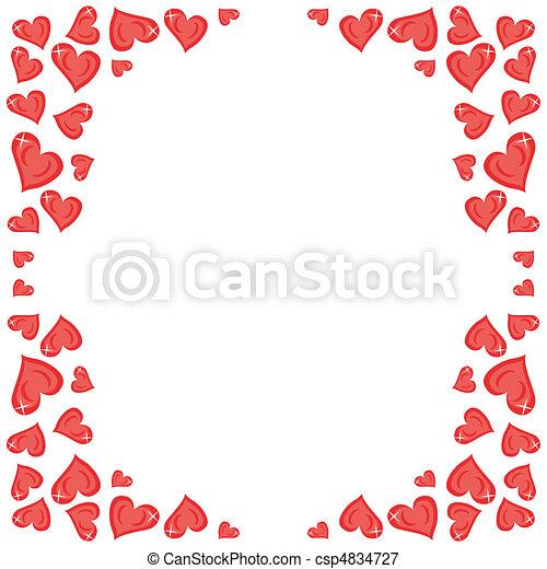 corações, quadro, branco vermelho - csp4834727